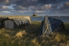 Fishermens Huts and Lindisfarne Castle