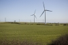 Huge wind turbines on agricultural land near Middlesbrough, North Yorkshire, England, UK