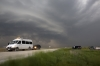 Storm chasers watching a supercell thunderstorm in Kansas USA