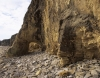 Eroding limestone cliffs at Marsden Bay Tyne & Wear England. Shows rock arch and strata