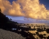 Golden sunset over the ocean at Princeville Kaui in the Hawaiian Islands
