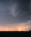 A close tornado touches down at sunset in Kansas USA