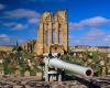 Tynemouth Priory and a wartime gun emplacement, Tyne & Wear, England