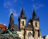 Church of Our Lady before Tyn & Jan Hus Monument in Prague Czech Republic